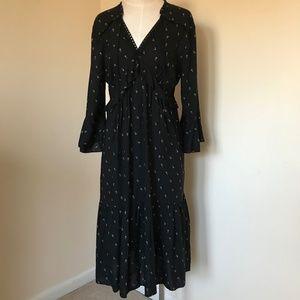 NWT LOFT Ruffle Midi Dress L